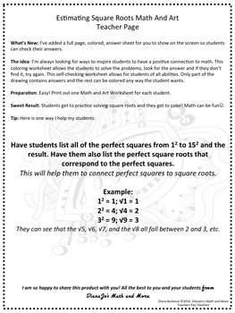 8th Grade Math Estimating Square Roots Math and Art Worksheet | TpT