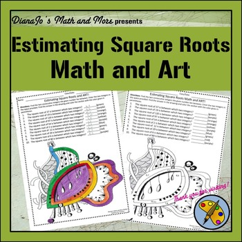 8th Grade Math Estimating Square Roots Math and Art Worksheet