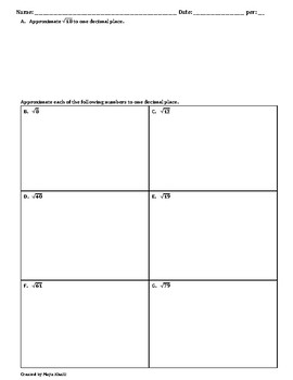 Estimating Square Roots with Decimal Approximations Worksheet