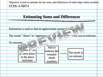 Estimating Sums & Differences (Part of Place Value and Number Sense Unit)