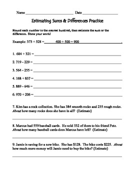 Estimating Sums & Differences Practice & Test with answer keys
