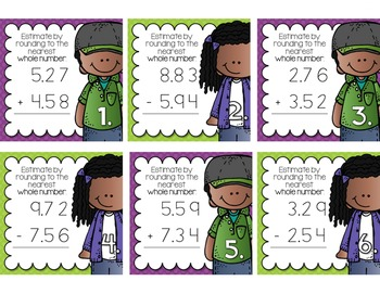 Estimating Sums & Differences to the Nearest Whole Number Task Cards