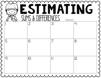 Estimating Sums & Differences to the Nearest Tens Place Task Cards