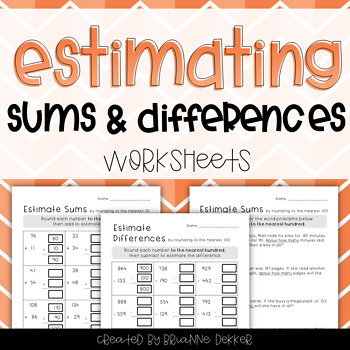 Estimating Sums & Differences Worksheets - Third Grade GoMath!