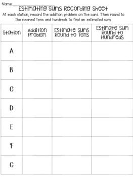 Estimating Sums Math Activity
