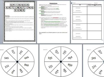 Estimating Sums Spinner Game