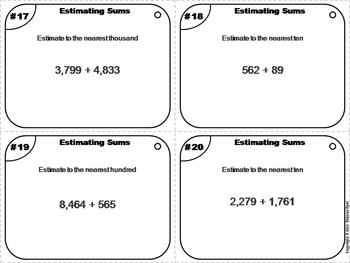 Estimating Sums Task Cards Activity