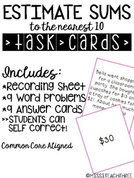 Estimating Sums | Task Cards with Matching Answer Cards