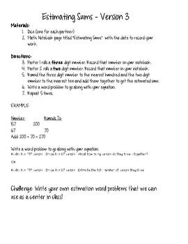 Estimating Sums - Version 3