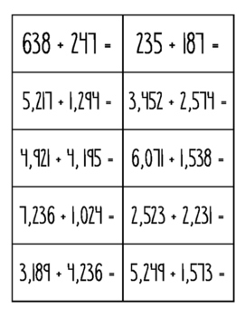 Estimating Sums and Differences (3 and 4 Digit Numbers)