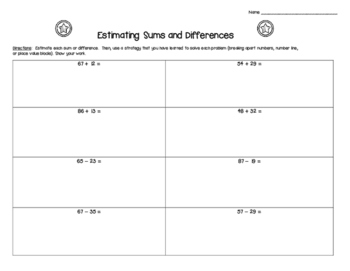 Estimating Sums and Differences Practice Worksheet