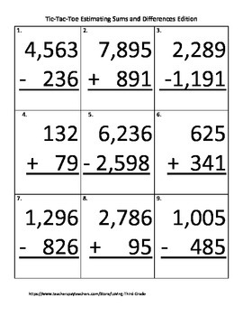 Estimating Sums and Differences Tic-Tac-Toe