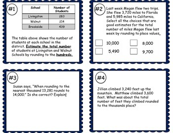 Estimating and Adding Sums Task Cards