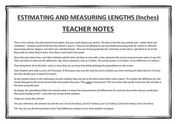 Estimating and Measuring Lengths (Inches)