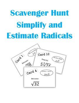 Estimating and Simplifying Radicals Scavenger Hunt