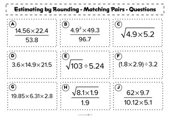 Estimating by rounding to 1 significant figure - matching activity
