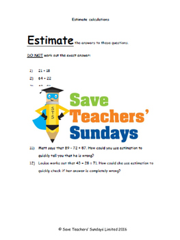 Estimating calculations lesson plans and worksheets (3 levels of difficulty)