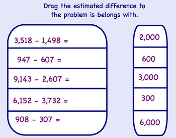Estimating the Difference Smartboard Math Lesson
