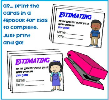 Estimating to the Greatest Place Value Word Problem Task Cards: Grades 3-4