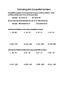 Estimating with Compatible Numbers Worksheet