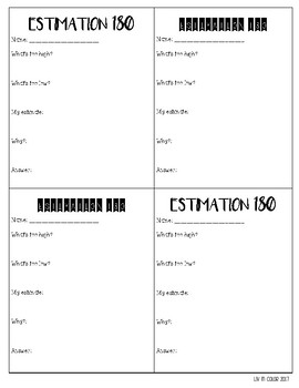 Estimation 180 Recording Sheet