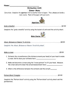 Estimation 1st grade Cafe Enrichment Menu