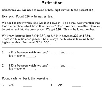 Estimation, 2nd grade - Individualized Math - worksheets