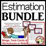 ESTIMATION BUNDLE - Bingo/Task Cards/Worksheets w/ Riddles Grades 4-5