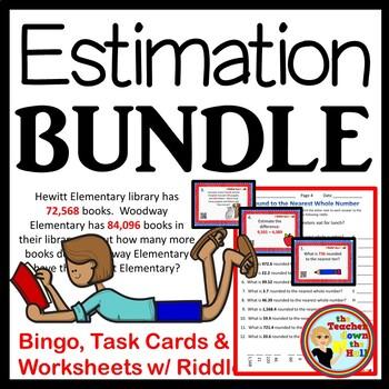 Estimation BUNDLE - Bingo/Task Cards/Worksheets w/ Riddles