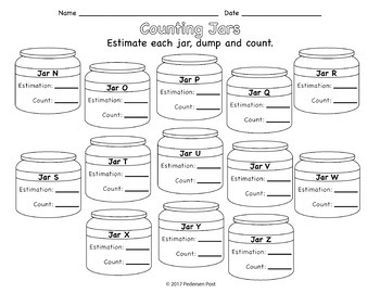 Estimation Counting Jar Answer Sheets
