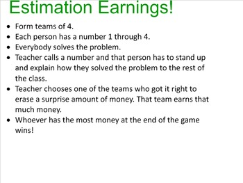 Estimation Earnings Game