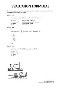 Estimation: Formulae