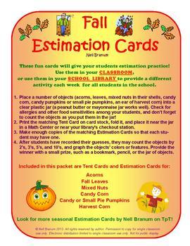 Estimation Jar Cards for Fall Fun