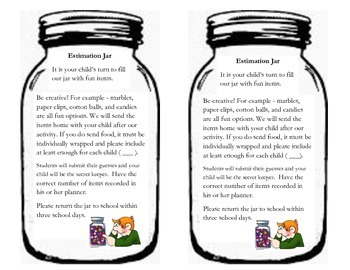 Estimation Jar Letter Worksheets Teaching Resources Tpt