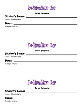 Estimation Jar Sign & Student Guess Slips