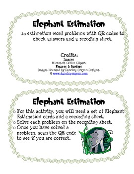 Estimation Problem Solving Cards