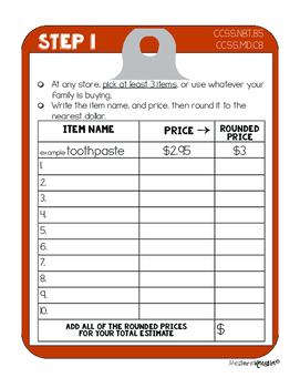 Common Core Estimation & Rounding: Shopping Trip Project