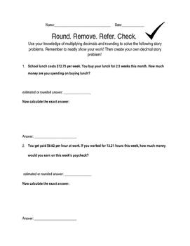 Estimation, Rounding, and Multiplying Decimals FREE Worksheet