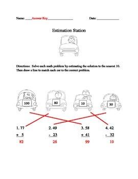 Estimation Station Estimating Worksheet