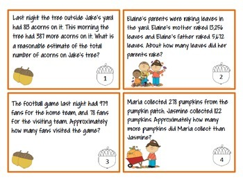 Estimation Word Problem Task Cards (Fall Themed) TEKS 4.4G