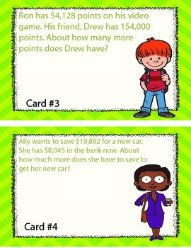 Estimation Word Problem Task Cards for 3rd, 4th, 5th, and 6th Graders