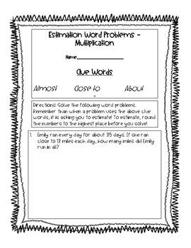 Estimation Word Problems