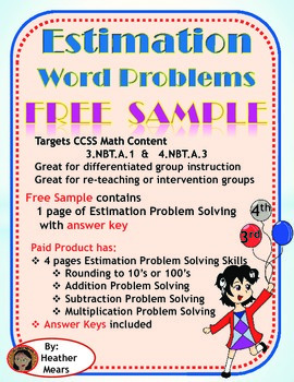 Estimation Word Problems  sample 3.NBT.A.1