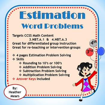 Estimation Word Problems 3.NBT.A.1