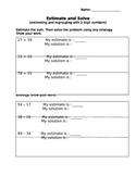 Estimation Worksheet
