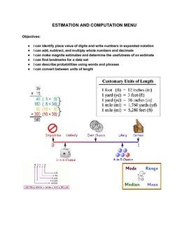 Estimation and Computation Math Menu