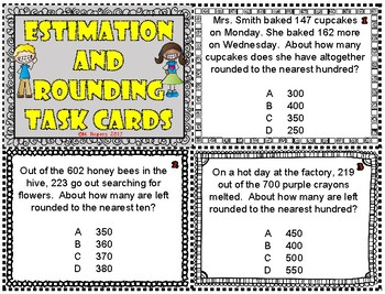 Estimation and Rounding Word Problem Task Cards