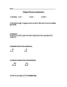 Estimation and multiplication assessment
