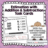 Estimation of Addition and Subtraction Task Cards w/ Self-checking answer code