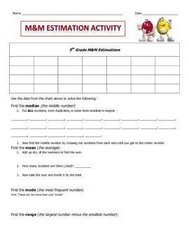 Estimation with m&m's with Smart Notebook Activity